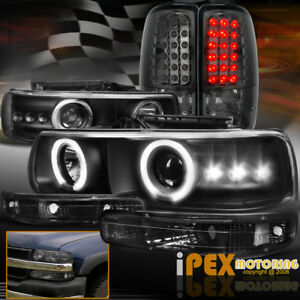 Chevy Suburban tahoe Halo Projector Led Black Headlight signals smoke Tail Light