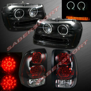 Black Halo Projector Headlights W Led Signal Taillights For 02 09 Trailblazer