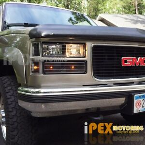 1994 1998 Gmc Sierra Suburban Yukon 8pc Black Headlight Corner Bumper Lights