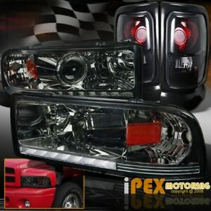 Shiny Smoke 1994 2001 Dodge Ram 1500 2500 Projector Led Headlights Tail Lights