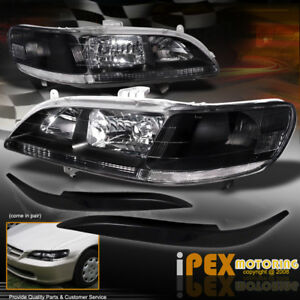 For 98 02 Honda Accord Coupe Sedan Jdm Black Headlights Headlamp Trims