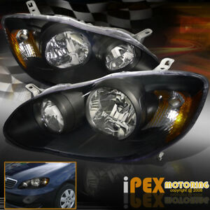For Toyota 2003 2004 2005 2006 2007 2008 Corolla Black Headlights Headlamps