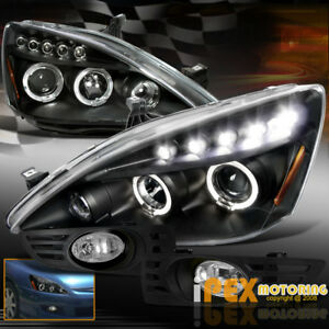 For 03 05 Honda Accord 2dr Coupe Halo Projector Led Black Headlights Fog Light