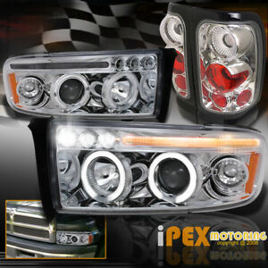 1994 2001 Dodge Ram 1500 2500 3500 Halo Projector Led Headlights W Tail Lights