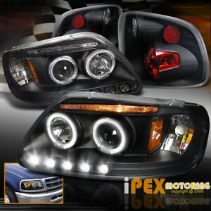 1997 2000 Ford F150 Flareside Halo Projector Led Headlights Tail Lights Black