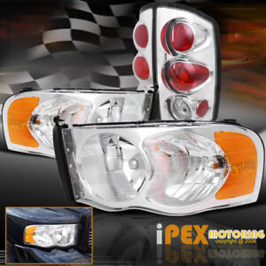 New Chrome Combo For 2002 2005 Dodge Ram 1500 2500 3500 Headlights Tail Lights