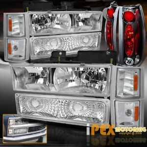 94 98 Chevy Silverado Tahoe 10pc Chrome Headlight Corner Signal Tail Light
