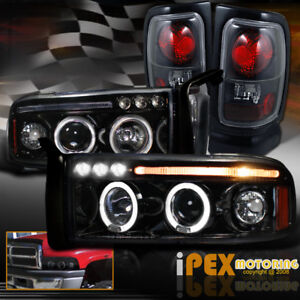New 1994 2001 Dodge Ram Halo Led Projector Smoked Black Headlight Tail Light
