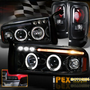 Dodge Ram 1500 2500 Halo Projector Shiny Black Headlight Dark Smoke Tail Light