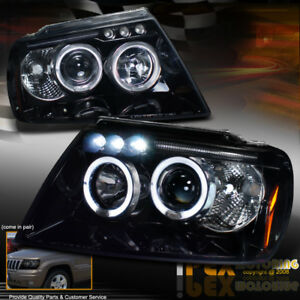 Gloss Jet Black 1999 2004 Jeep Grand Cherokee Halo Projector Led Headlights