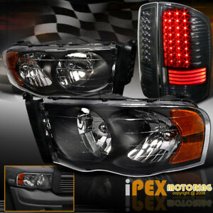 2002 2005 Dodge Ram 1500 2500 3500 Black Headlights Special Led Tail Lights