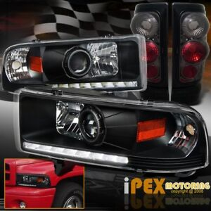 94 01 Dodge Ram 1500 2500 Led Drl Projector Black Headlights Smoke Tail Lights