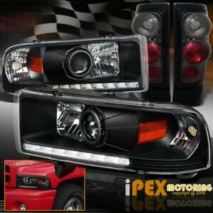 For 1997 2001 Dodge Ram 1500 Sport Halo Projector Headlights Smoke Tail Lights