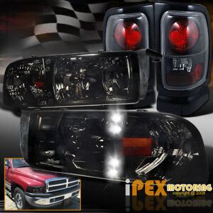 Shiny Smoke 1994 2001 Dodge Ram 1500 2500 3500 Led Headlights Black Tail Light
