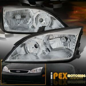 For 2002 2007 Ford Focus Zx4 Zx3 St Se Ses Chrome Replacement Headlight Headlamp