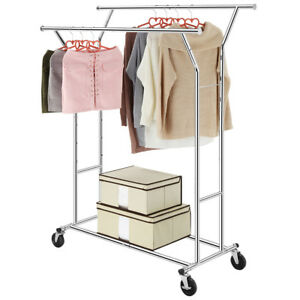 Heavy Duty Cloth Hanger Collapsible Garment Rack Double Rail Rolling Hold Chrome