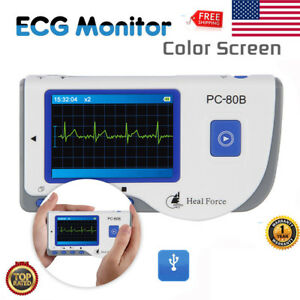 Handheld Heal Force Color Ecg Monitor With Ecg Heart Beat Monitor 50 Electrodes