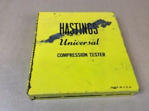 Vintage hastings Compression Tester Kit Chevy Gm Ford Old Auto Truck tractor
