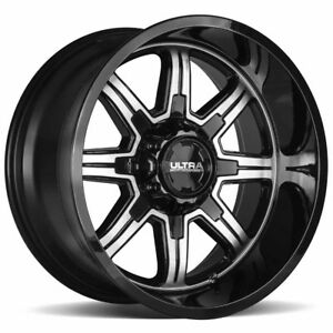 4 new 15 Inch Ultra 229u Menace 15x8 6x5 5 19mm Black machined Wheels Rims