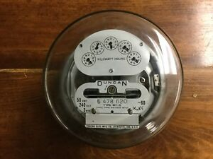 Vintage Duncan Type Mf s Residential Electric Meter Single Phase Watthour Meter