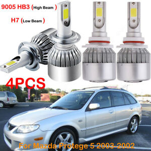 For Mazda Protege 5 2003 2002 Front H7 9005 Hb3 Led Headlight Bulbs Kits