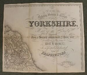 Teesdale S Large Scale Map Of Yorkshire 800 X 2200 Mm 1828 3 4 Inch To Mile