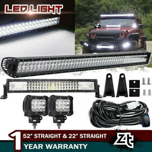 52inch 300w Led Light Bar Combo 22 120w 4 18w Fit Jeep Wrangler Jk Yj Cj Lj Tj
