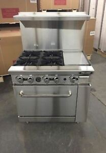 New Heavy 36 Range 4 Burners 12 Griddle 1 Full Oven Stove Natural Gas Only