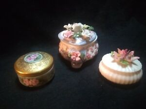 Lot Of 3 Porcelain Flowered Collectible Trinket Boxes