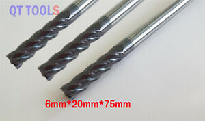 3pcs Solid carbide End Mill 6mm 75mm Tiain Coat Hrc45 Cnc Router Bits For Wood
