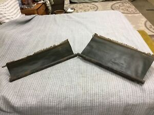 Pair Of Antique Vtg Model T A Ford Window Door Shades Green Pull Down W Hardware