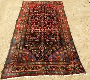 Vintage Blue Field Excellent Condition Oriental Rug Size 3 3 X 6 6