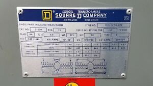 Square d Single Ph 25kva Hv240 480 Lv 120 240 Transformer Wt225