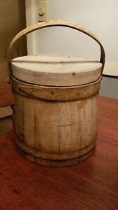 Antique Primitive Painted Wooden Firkin Sugar Bucket W Lapped Bands
