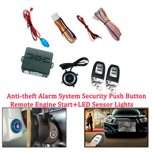 Universal Car Alarm System Push Button Remote Engine Start Led Sensor Light Kit