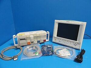 2003 Philips V24e Patient Monitor nbp Ecg Spo2 Co2 Co Print W New Leads 14532