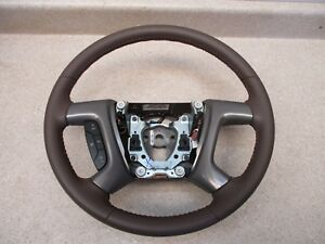 New 08 14 Gm Gmc Chevrolet Leather Steering Wheel W Cruise Control 25776311