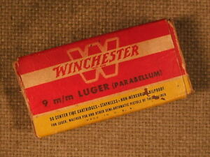 Vintage 9mm Winchester ammo box