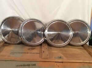 Vintage 4 Cone Hubcaps Wheel Covers 10 Dog Dish Ford Chevy Dodge