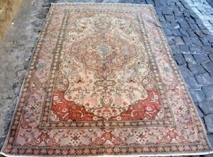7x5 Vintage Hand Woven Knotted Oushak Persian Oriental Anatolian Wool Rug Carpet