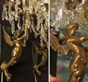 Pr Sconce 5lite Antique Deco Spelter Nude Mermaid Crystal Brass Bronze Lamp Lady