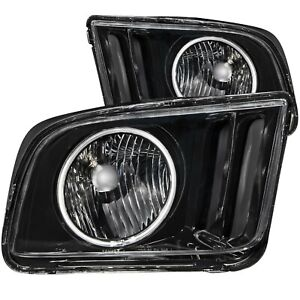 Pair Black Ccfl Halo Halogen Version Headlights For 2005 2009 Ford Mustang