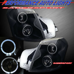 Set Of Black Halo Projector Headlights halogen Ver For 2003 2007 Cadillac Cts