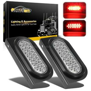 2x Red 24 Led Clear Lens 6 Oval Brake Stop Turn Tail Marker Lights Mounting Kit