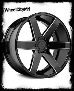 22 Inch Gloss Black Milled Verde V24 Invictus Wheels Fits Dodge Charger 5x115