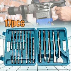 17pcs Drill Bits Chisel Sds Plus Rotary Hammer Bit With Set Storage Carry Case
