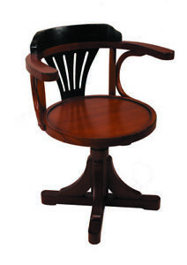 Purser s Office Desk Chair Black Honey Wooden Nautical Decor New
