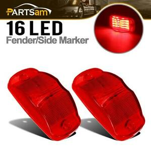 Pair 4 Red 16 Led Marker Clearance Combination Lights Rv Trailer Truck Cab Side