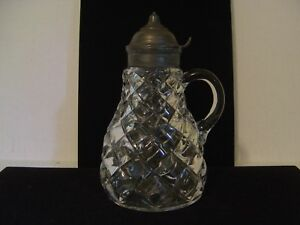 Vintage Clear Glass Lidded Syrup Pitcher With Diamond Pattern Date