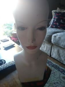 Vintage Female Fleshtone Mannequin Head Form W Pierced Ears Makeup Heavy